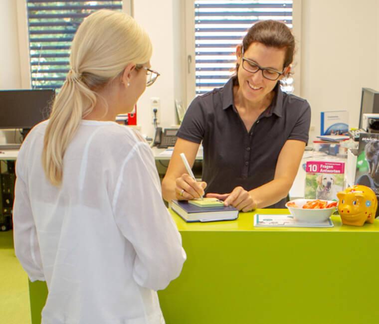 Empfang der Tierarztpraxis in Landshut